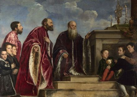 Titian (Tiziano Vecellio): The Vendramin Family, Venerating a Relic of the True Cross.  (001950)